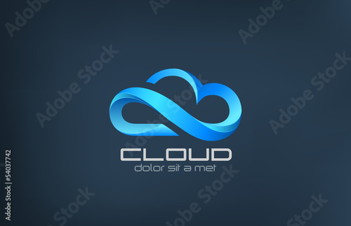 Fotografía  Cloud computing icon vector logo design template.