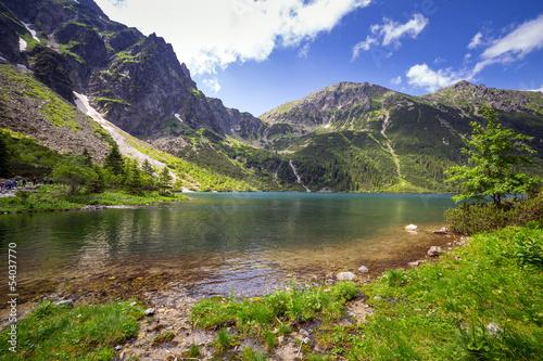 Beautiful scenery of Tatra mountains and lake in Poland
