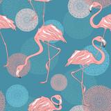 Fototapeta Młodzieżowe - Seamless pattern of flamingos