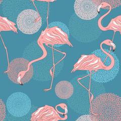 Tapeta Seamless pattern of flamingos