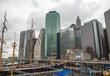 Lower Manhattan skyline in South Street Seaport - New York