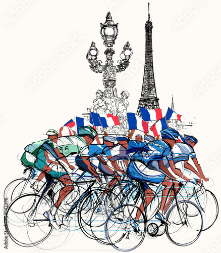 Recess Fitting Illustration Paris Paris - cyclists in competition
