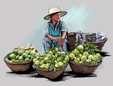 Owocowy sprzedawca uliczny w Bangkok Tajlandia - 54042534