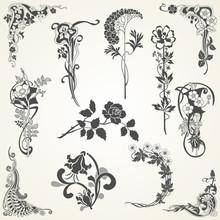 Set Of Flowers In Vintage Style