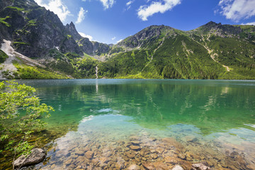 Panel SzklanyBeautiful scenery of Tatra mountains and lake in Poland