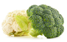 Composition With Broccoli And Cauliflower Isolated On White