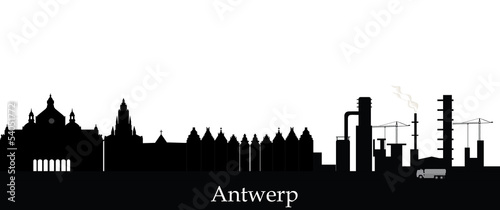 Foto op Plexiglas Antwerpen antwerp skyline with text
