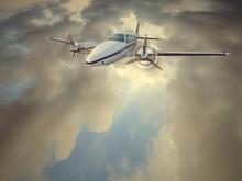Light Twin-engined Piston Aircraft In Flight
