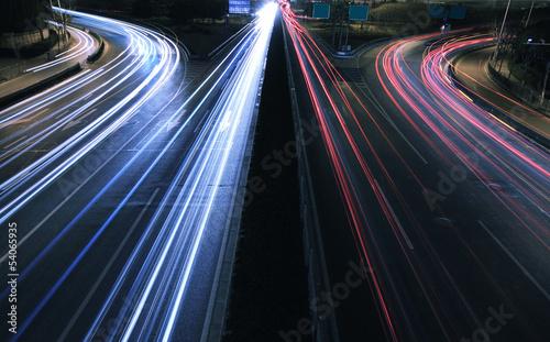 Large city road night scene, night car rainbow light trails #54065935