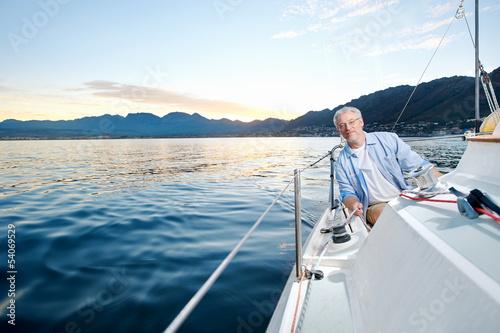 Fotografía  happy sailing man boat