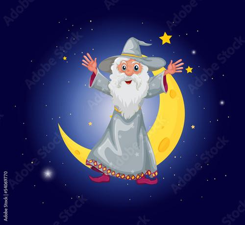 La pose en embrasure Fées, elfes A wizard floating near the moon