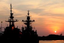 Battleship With Sunset Behind