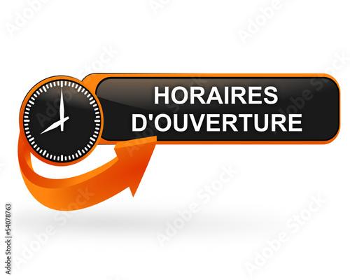 horaires d'ouverture sur bouton web design orange Fototapete