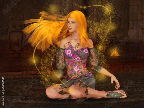 La pose en embrasure Fées, elfes Fire Fairy