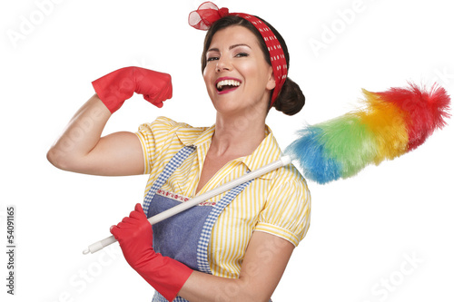 Fotografie, Obraz young happy beautiful woman maid dusting on white