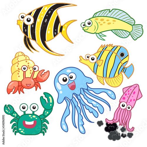 zwierzeta-morskie-kreskowka-z-bialym-tlem
