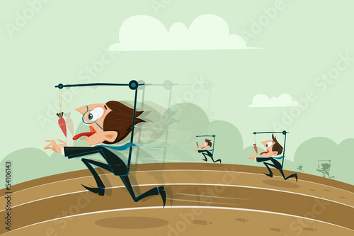 Businessmen running with hanging carrot