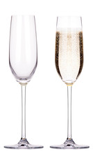 Full And Empty Glass Of Champagne Isolated