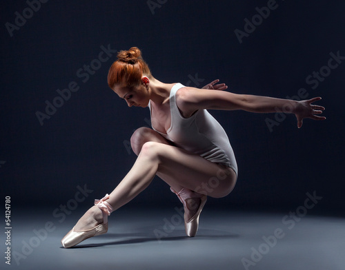 Fotografie, Tablou  Graceful slender ballerina dancing in studio