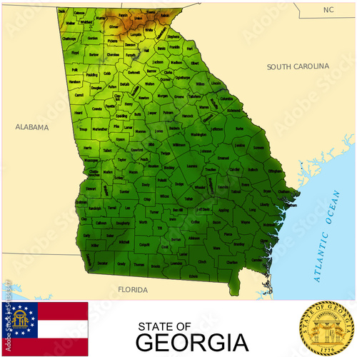 Map Of Georgia Usa Counties.Georgia Usa Counties Name Location Map Background Buy This Stock