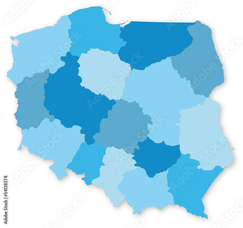 Fotomural Blue vector map of Poland with voivodeships