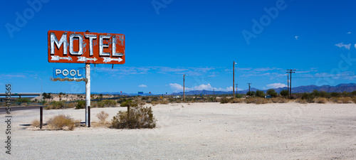 Wall Murals Route 66 A vintage neon motel sign in the desert