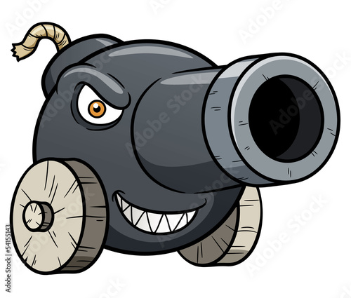 Vector illustration of cannon cartoon Fotobehang