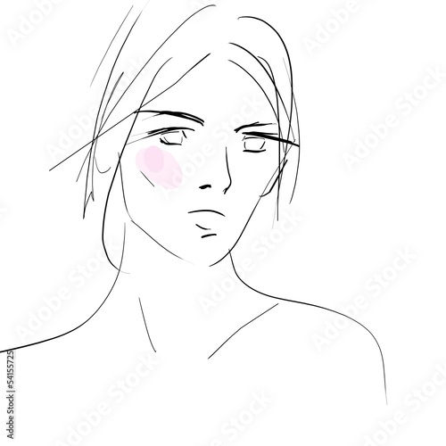 Concept women face, fashion hand drawing sketch
