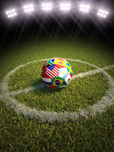 Soccer Ball On Field With Part...