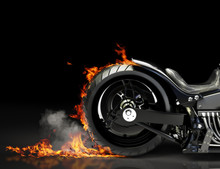 Custom Black Motorcycle Burnou...