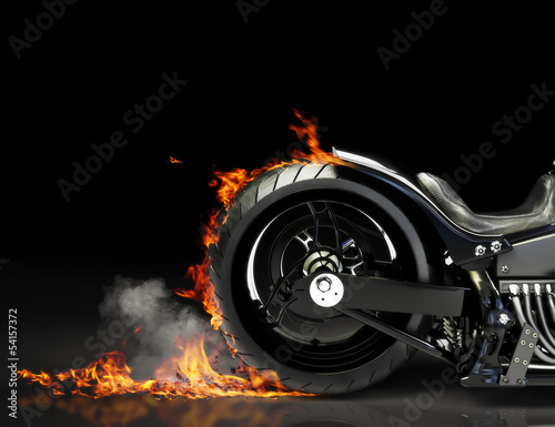 In de dag Motorfiets Custom black motorcycle burnout. Room for text or copyspace