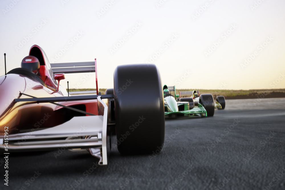 Fényképezés Race car leading the pack, room for text or copy space
