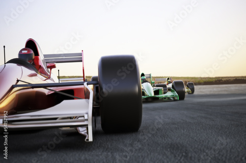 Foto  Race car leading the pack, room for text or copy space