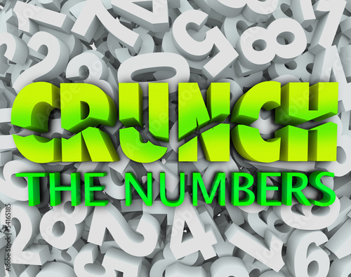 Fotografie, Obraz  Crunch the Numbers Words Number Background Accounting Taxes