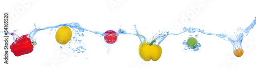 Aluminium Prints Fresh vegetables Tropical fruits and vegetables falling into water with splash