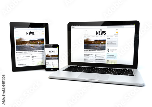Fotografia  news on a tablet, laptop and phone