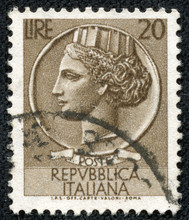 Head Of A Woman, Who Symbolize Italy After Syracusean Coin