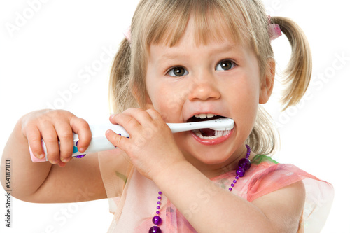 Close up portrait of cute girl brushing teeth. #54182183
