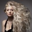 Leinwanddruck Bild - Beautiful Blond Woman. Curly Long Hair