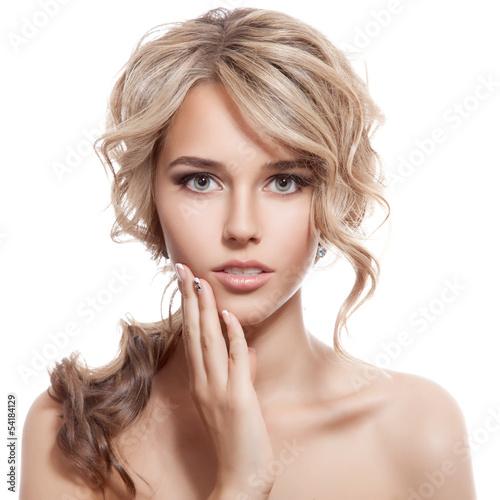 Fotografie, Obraz  Beautiful Blonde Girl. Healthy Long Curly Hair.