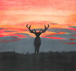 Painting of a silhouette of a large deer