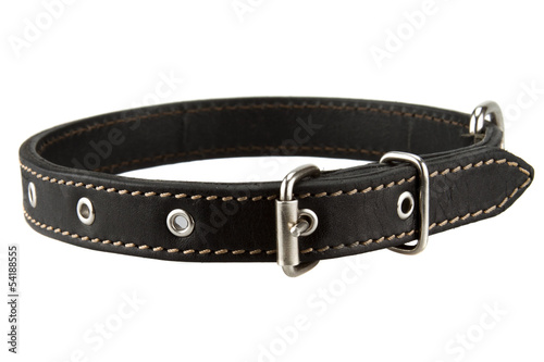 Foto  black leather dog collar