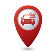 Car with shop basket icon no red map pointer