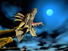 Dragon At The Moon - 3D Render