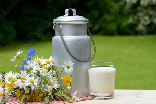 Fotografie, Obraz  Kanne mit Milch und Blumen