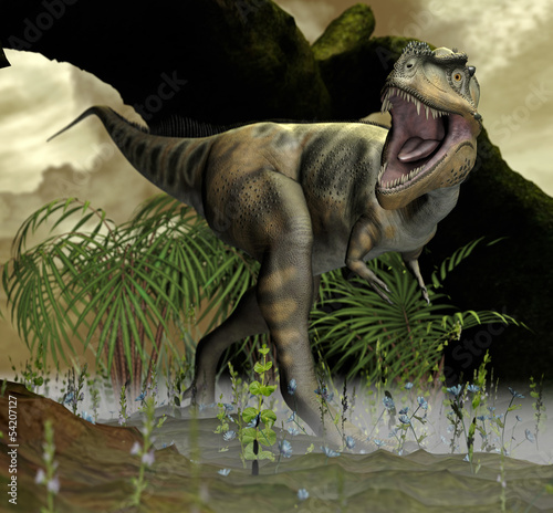 dinozaur-w-pradawnym-krajobrazie