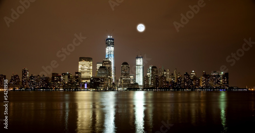 In de dag Volle maan The Freedom Tower under construction at Lower Manhattan