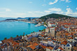 canvas print picture - Amazing panoramic top view of the historic city Split