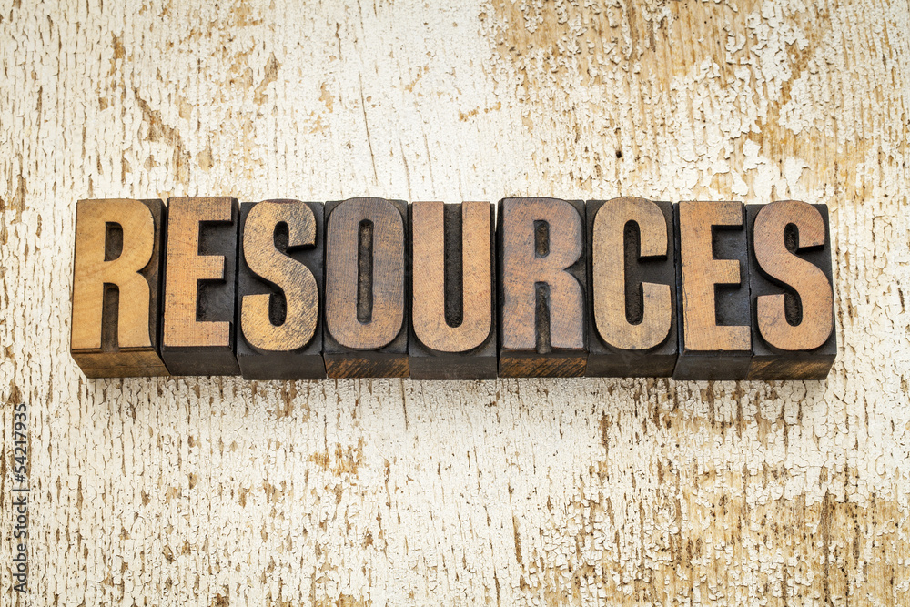Fototapeta resources word in wood type