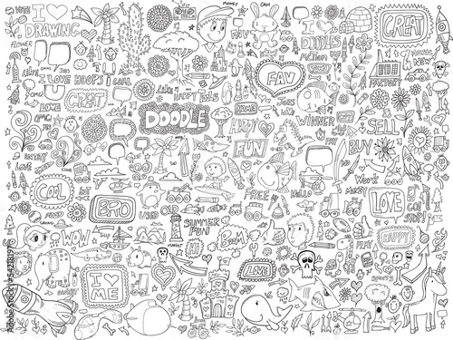 Türaufkleber Cartoon draw Doodle Sketch Animals People Flowers Set